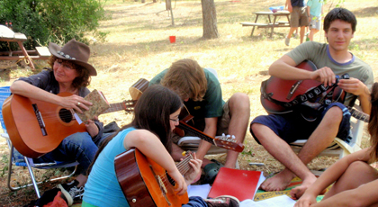 Ulpan students having a jam session.
